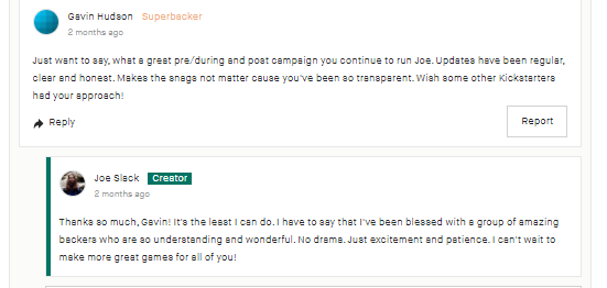 Kickstarter Lessons: Always be professional and polite (even when your backers aren't) 4