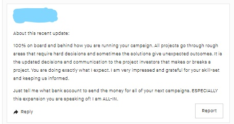 Kickstarter Lessons: Always be professional and polite (even when your backers aren't) 5